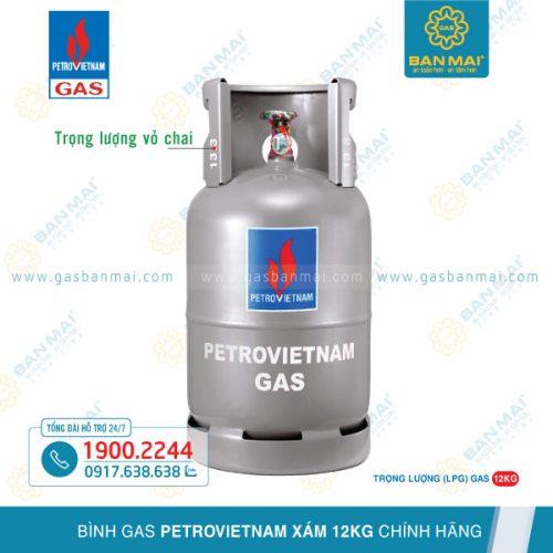 Bình gas Petrovietnam gas xám 12kg