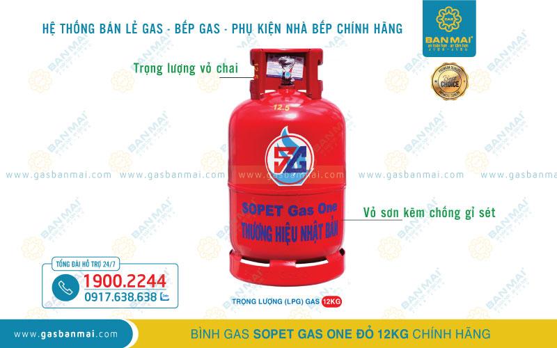 Bình Gas SOPET Xanh Đỏ 12kg chính hãng