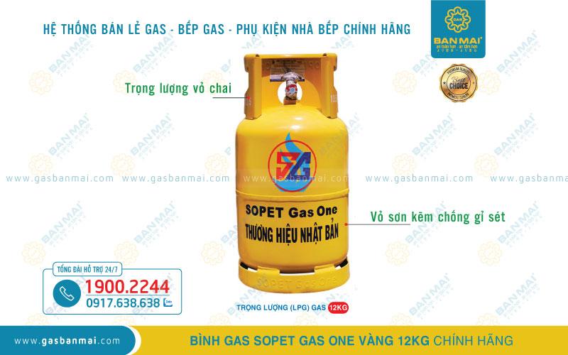 Bình Gas SOPET màu vàng 12kg chính hãng