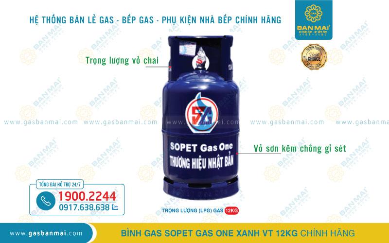Bình Gas SOPET Xanh VT 12kg chính hãng