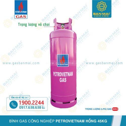 Bình gas công nghiệp Petrovietnam hồng 45kg