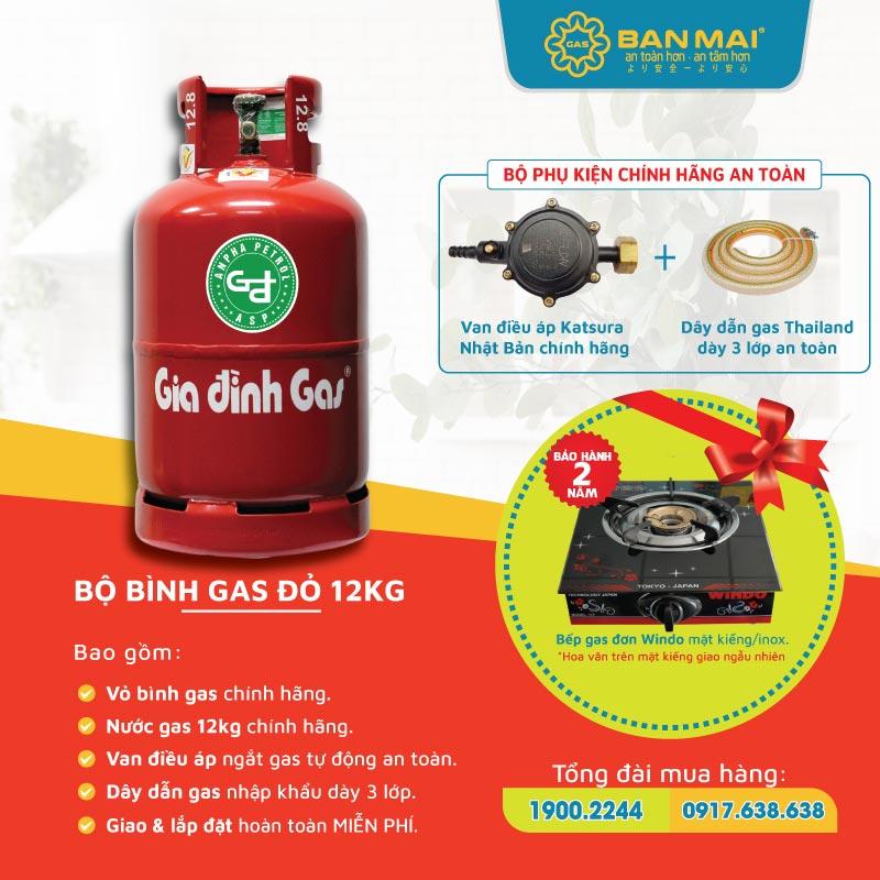 Bộ bình gas gia đình màu đỏ 12kg tặng bếp gas đơn