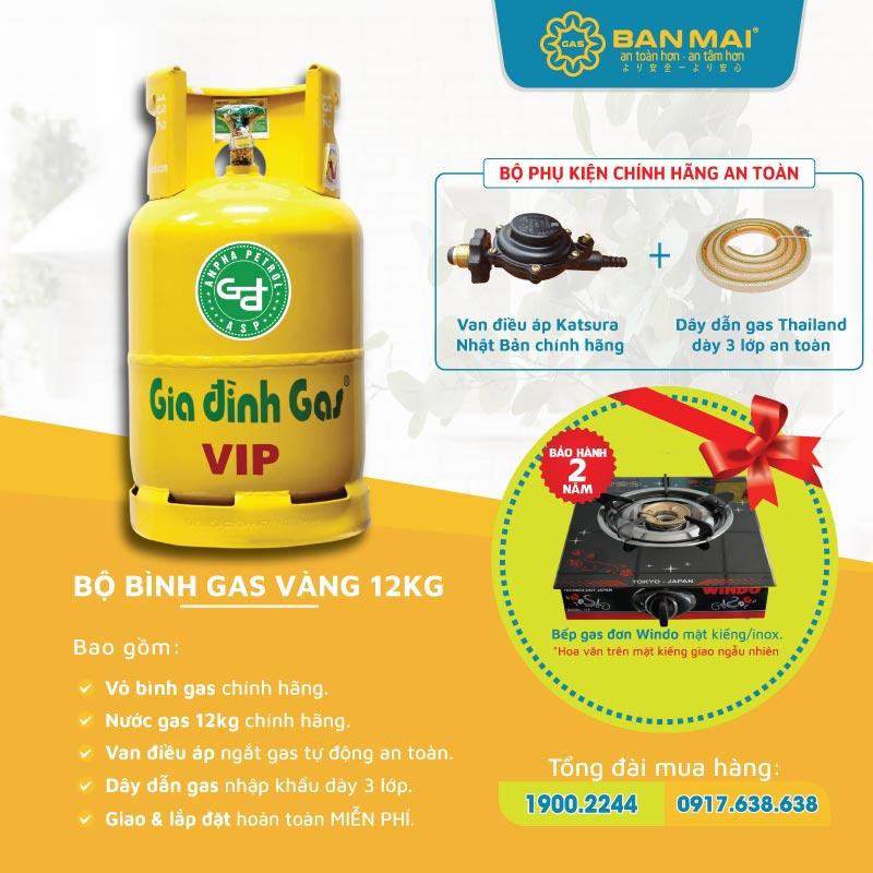 Bộ bình gas gia đình vàng (vip) chính hãng giá rẻ