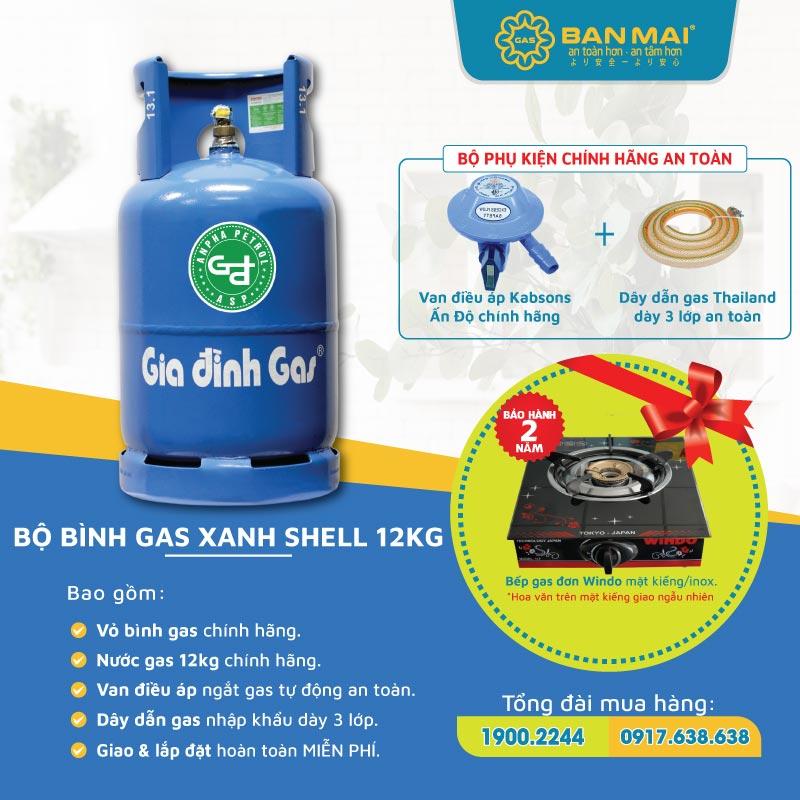 Bộ bình gas Gia Đình xanh dương gas tặng bếp gas đơn