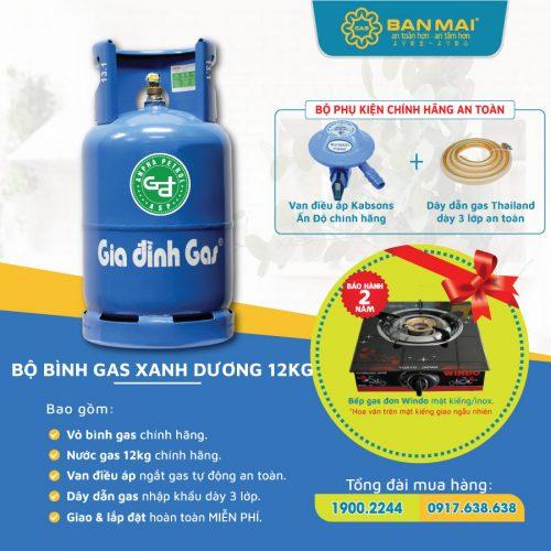 Bộ bình gas màu xanh dương tự động ngắt gas