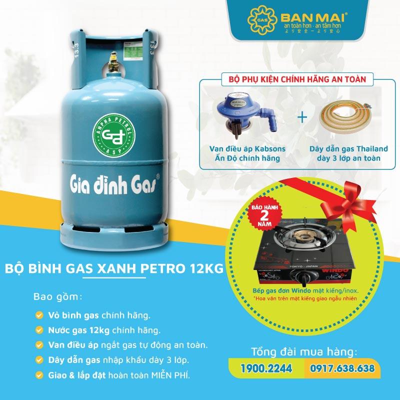 Bộ bình gas gia đình xanh petro tặng kèm bếp gas đơn