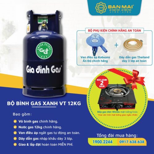 Bộ bình gas màu xanh đen VT-Gas chính hãng