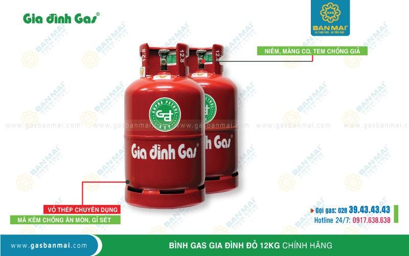 Bình gas Gia đình đỏ 12kg chính hãng