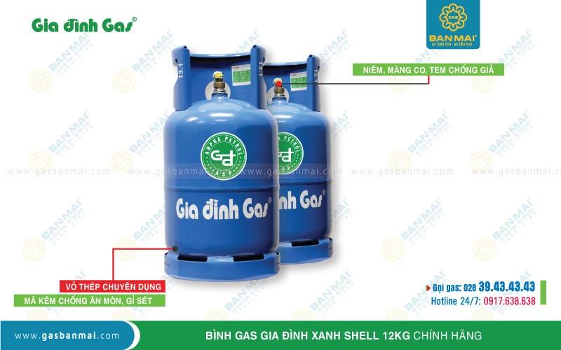 Bình gas Gia Đình xanh dương 12kg