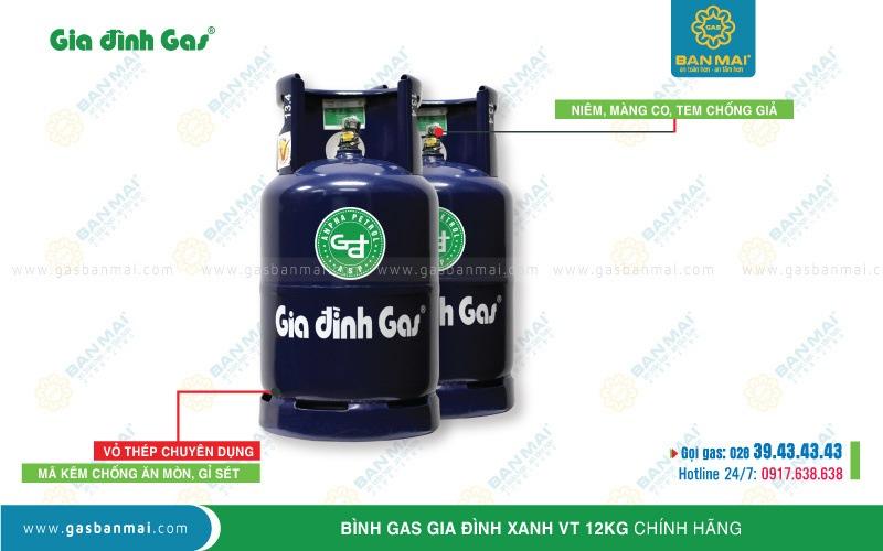 Bình gas Gia đình xanh VT 12kg chính hãng