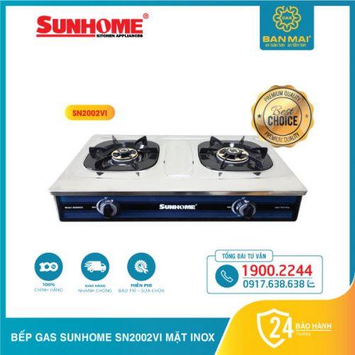 Bếp gas SUNHOME SN2002VI mặt inox chính hãng
