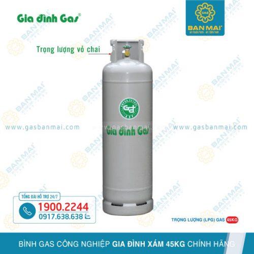 Bình gas công nghiệp Gia Đình xám 45kg