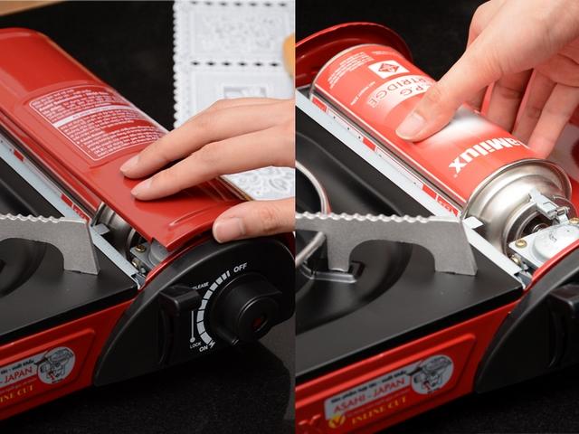 Mở nắp đậy và lấy lon gas ra khỏi bếp gas - cách sử dụng bếp gas mini