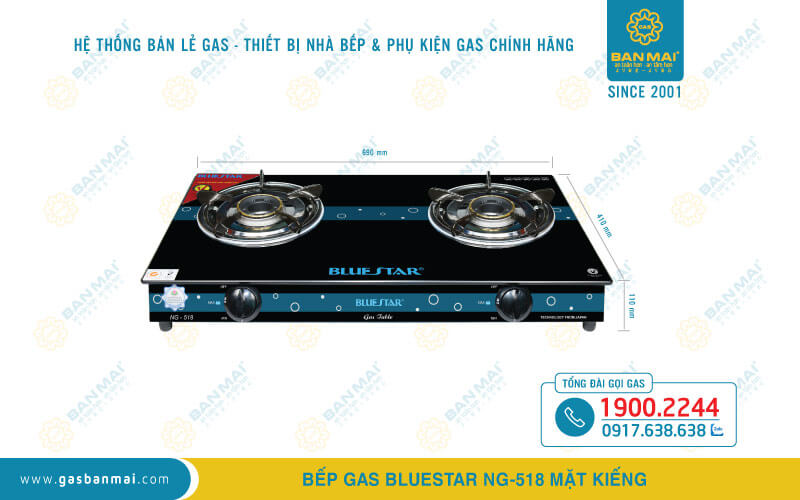 Kích thước bếp ga dương Bluestar NG-518